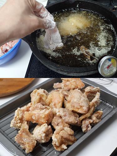 久慈の砂鉄鍋で鶏唐揚げ