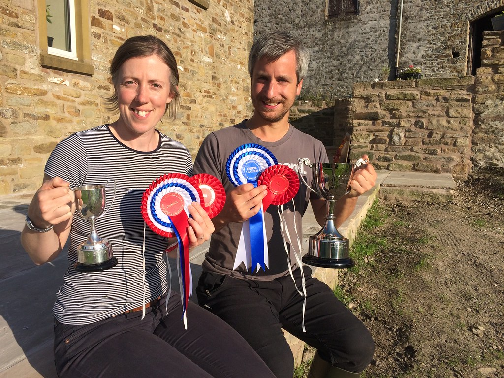 Heather and Dan with their trophies and rosettes