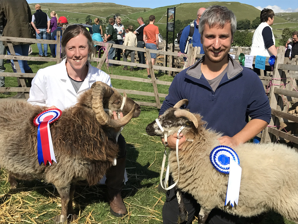 Heather and Dan with Primitive Champion and Reserve Champions Wispa and Fulvia